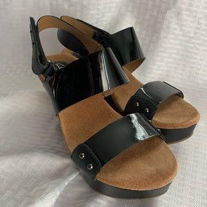 Clark's Artisan Black Patent Wedge Sandals 7
